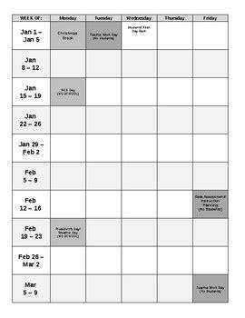 Blank Pacing Calendar Template