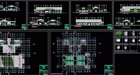 school dining hall  kitchen dwg section  autocad