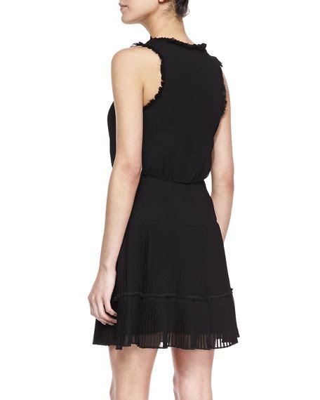 Ruffle Trim Sleeveless Dress miller sleeveless ruffle trim cocktail dress black