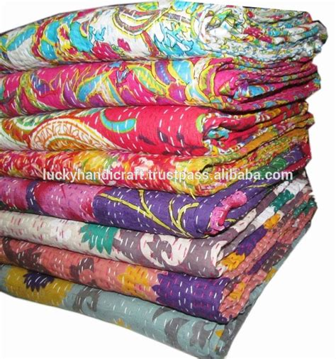 Cheap Quilted Throws by Wholesale Kantha Quilt Cotton Fabric Bedsheet Indian