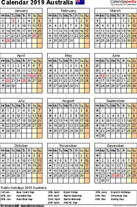 Calendar 2019 With Holidays Canada Australia Calendar 2019 Free Printable Pdf Templates