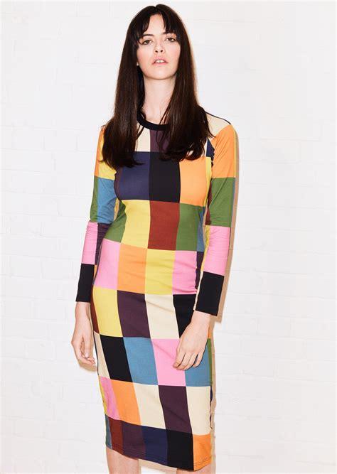 Patchwork Midi Dress lyst house of patchwork print midi dress