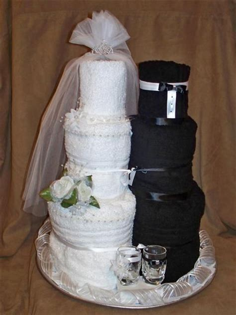 Bridal Shower Idea Towel Wedding Cake by Towel Cakes