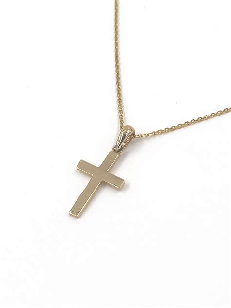 14k solid gold cross pendant necklace gold cross necklace