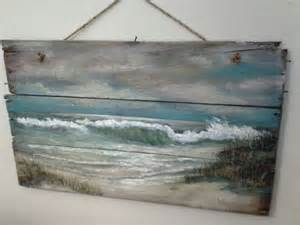 Beach cottage primitive folk art wallhanging wall decor paintings on