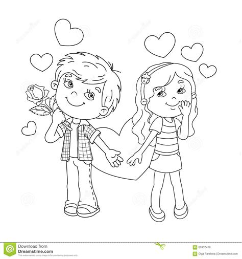 Coloring Page Outline Of Boy And Girl With Hearts Stock Outline Of A Boy And Coloring Pages