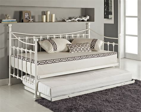 Metal Frame Daybed Versailles Day Bed And Trundle Black White Metal Frame With Foam Mattress Ebay
