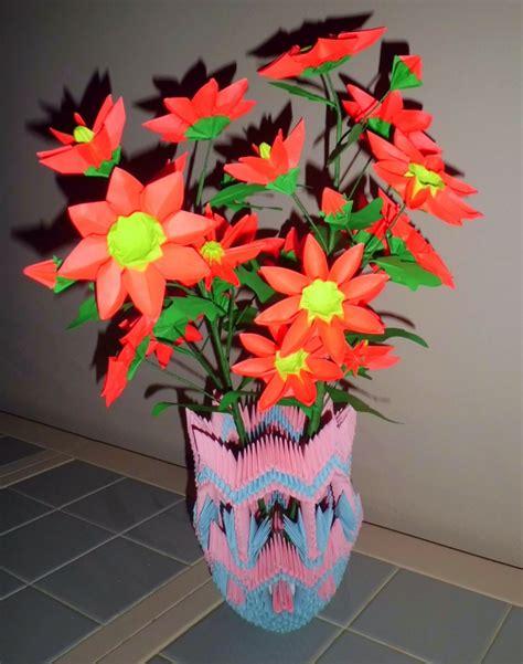Origami 3d Flower - 3d origami vase and album david foos 3d origami