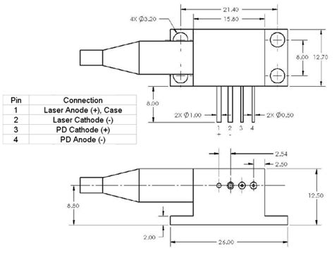 pin configuration of diode fiber coupled laser diode 4 5w 1320nm