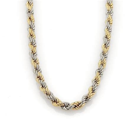 platinum 18k yellow gold twisted rope chain necklace 15 5 quot