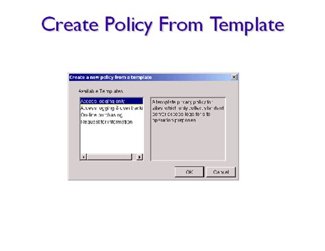 how to create a template create policy from template