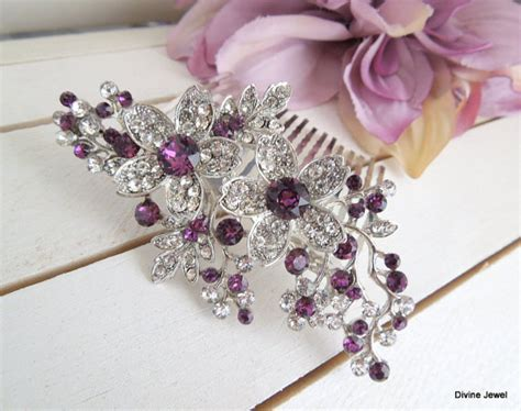 Vintage Purple Wedding Hair Accessories by Bridal Purple Swarovski Wedding Comb Wedding Hair