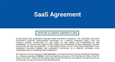 Saas Agreement Termsfeed Saas Agreement Template