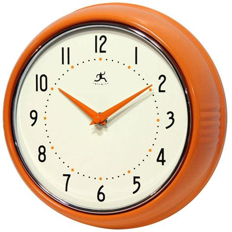 infinity retro wall clock infinity instruments 9 1 2 in orange retro metal