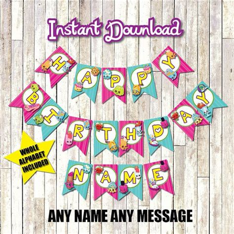 shopkins happy birthday banner printable 1000 images about shopkins themed birthday party ideas on