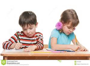 Kid At Desk Two Children Write At The Desk Royalty Free Stock Photography Image 29752287