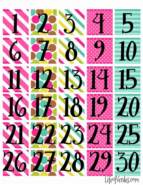 printable calendar pieces free printable calendar numbers household info