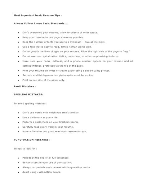 Resume Writing Basic Tips Most Important Basic Resume Tips 1