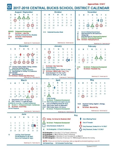 Central Bucks School District Calendar Central Bucks School District Calendar Printable