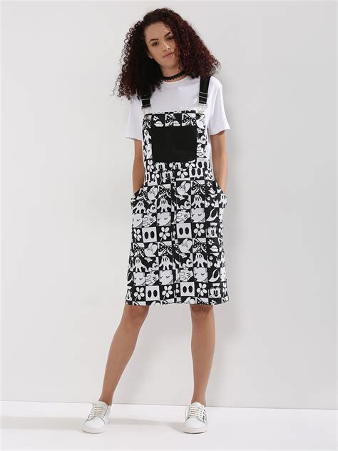 buy disney x koovs grid printed denim dungaree pinafore