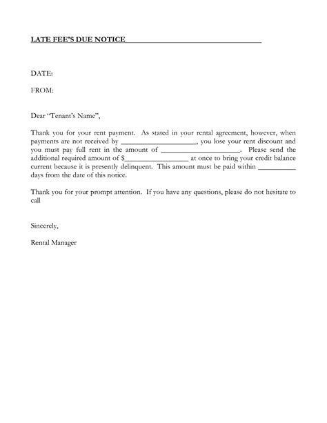 past due letter template standart print late rent notice word
