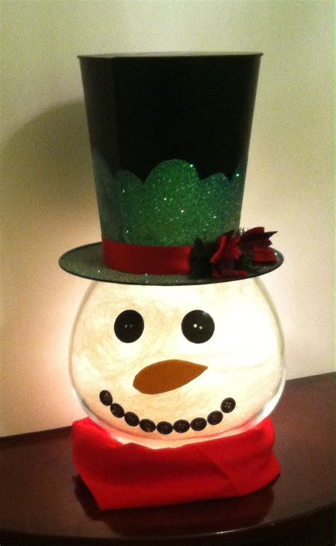 how to make a lighted quot goldfish bowl quot snowman crafts