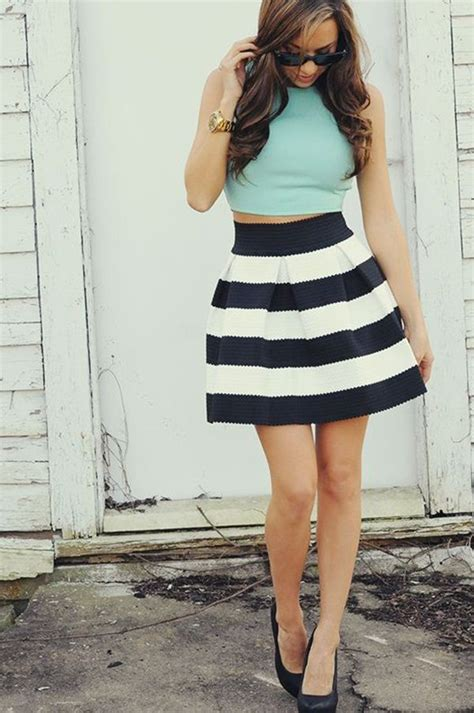 black and white striped skirt for ladylike trends black and white striped