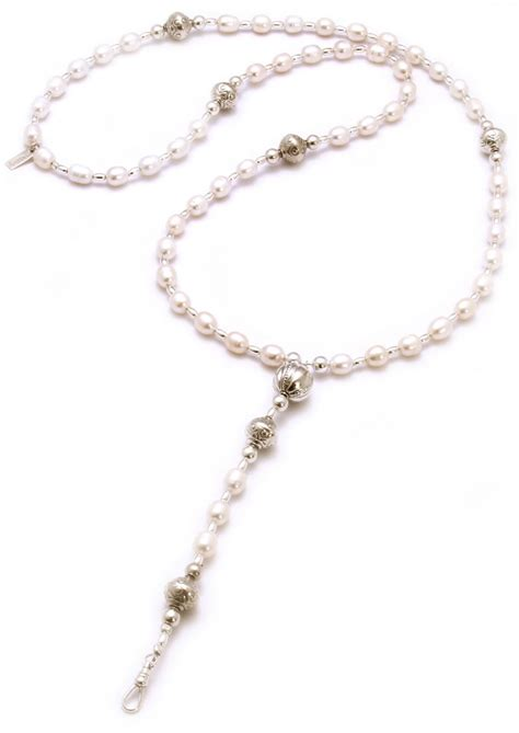 rosary pearl necklace chlobo oystins pearl rosary necklace