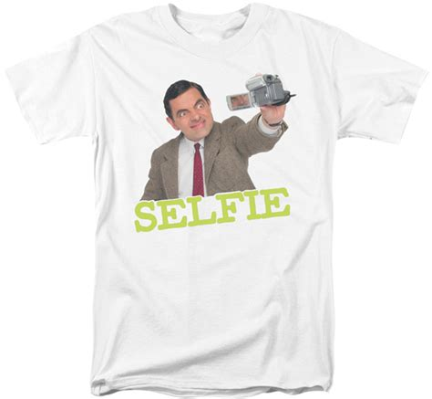 T Shirt Pria Mr Bean mr bean t shirt selfie mens white