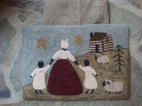 primitive rug patterns primitive rug hooking pattern linen going home black folkart