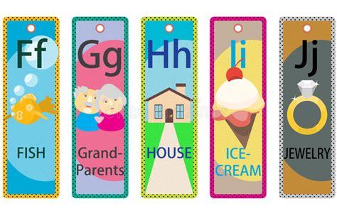 free printable educational bookmarks alphabet kids educational bookmarks collection f j stock