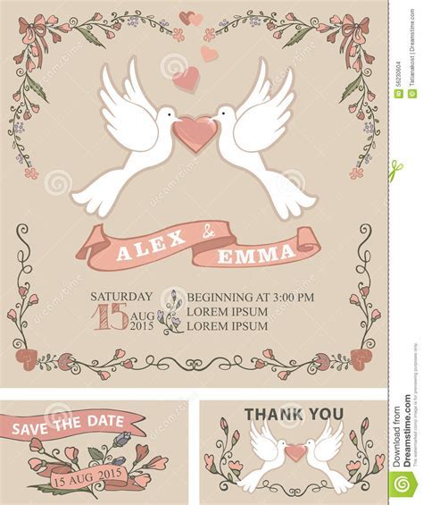 Vintage Wedding Invitation Set.Pigeon,floral Decor Stock
