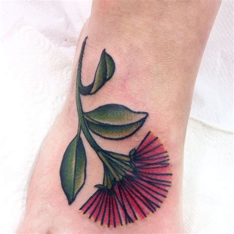 botanical tattoo designs foot pohutukawa flower by frances