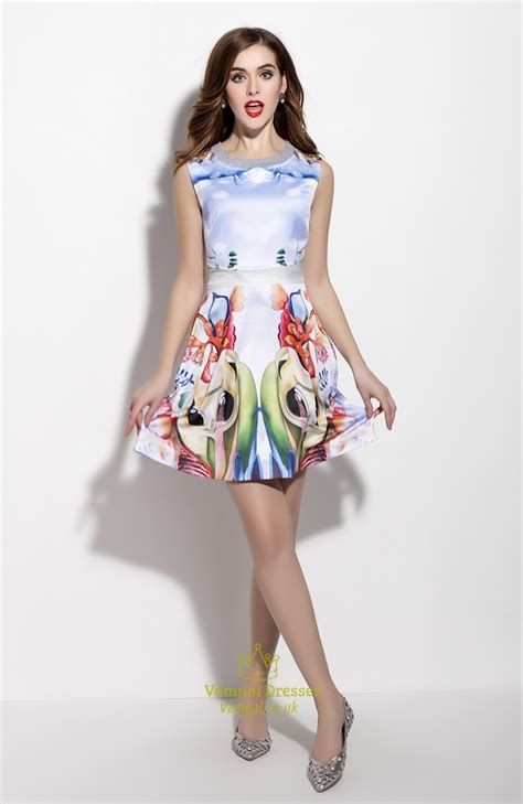 Malisa Flowery Flare Mini Dress sleeveless floral print fit and flare skater dresses