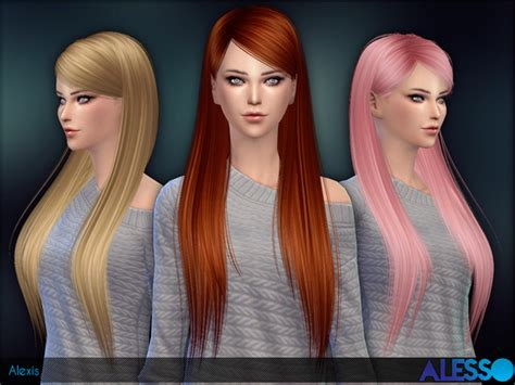 sims 4 longest hair alexis straight long hair by alesso at tsr 187 sims 4 updates