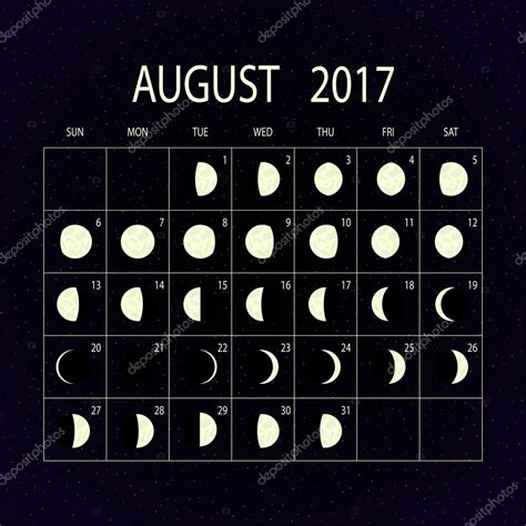 2017 full moon calendar spacecom moon phases calendar for 2017 august vector illustration