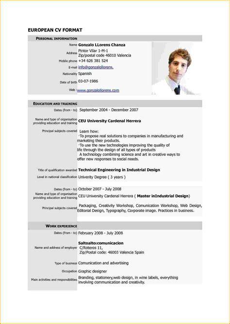 curriculum vitae format zimbabwe modele de cv en pdf contrat de travail 2018