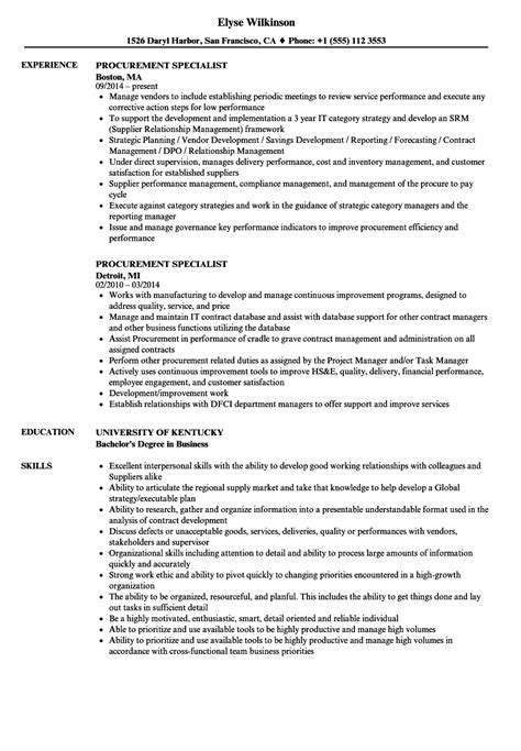 Procurement Specialist Sle Resume by Procurement Specialist Resume Sles Velvet