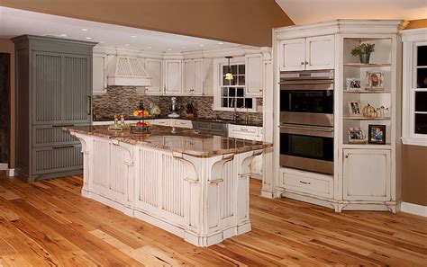 distressed kitchen with island custom cabinetry by ken leech