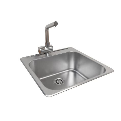 Single Bowl Kitchen Sink Top Mount Cantrio Top Mount Stainless Steel 20 5 In 1 Single Bowl Kitchen Sink Kss 2020 The Home Depot