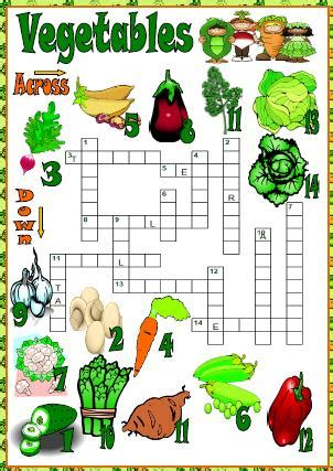 printable crossword puzzles vegetables vegetables picture crossword