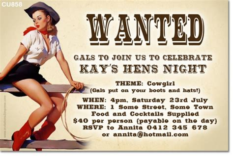 templates for hens night invitations free cu858 cowgirl themed hens night invitation ladies