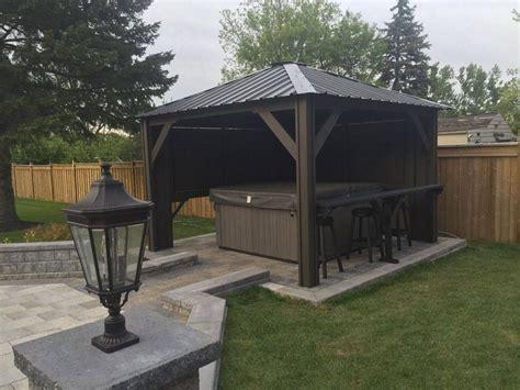 patio spa tub gazebo backyard idea spa outdoor spa living