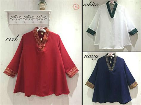 Big Size Jumbo 2l Atasan Blouse Panjang Wanita Bsfs782blp Katun model baju atasan wanita cantik modis terbaru ukuran jumbo