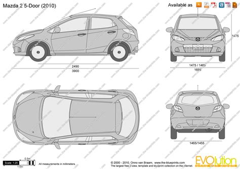 mazda 2 size the blueprints vector drawing mazda 2 5 door