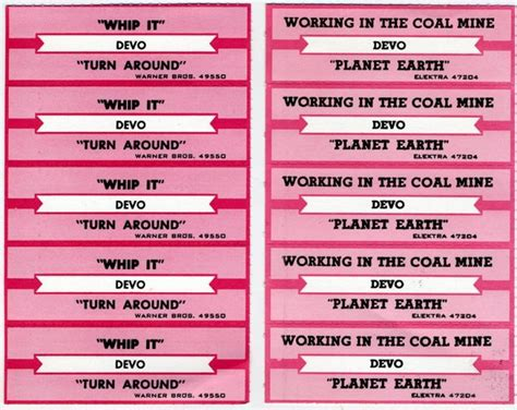 Devo Jukebox Labels Circa Early 1980 S Clubdevo Jukebox Labels Word Template