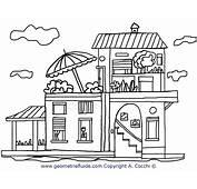 Casa A Due Piani Da Colorare  E Oggetti