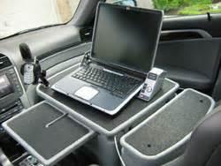 Computer Desk For Vehicles Passenger Desk Setup Redefines Telecommuting