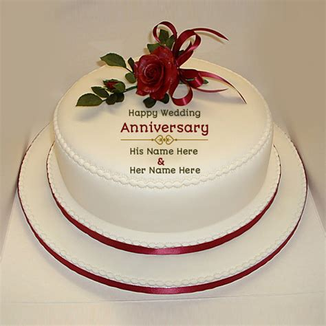 Wedding Anniversary Roses by Write Name On Happy Wedding Anniversary Cake
