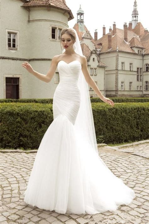 2016stock mermaid wedding dresses strapless wedding